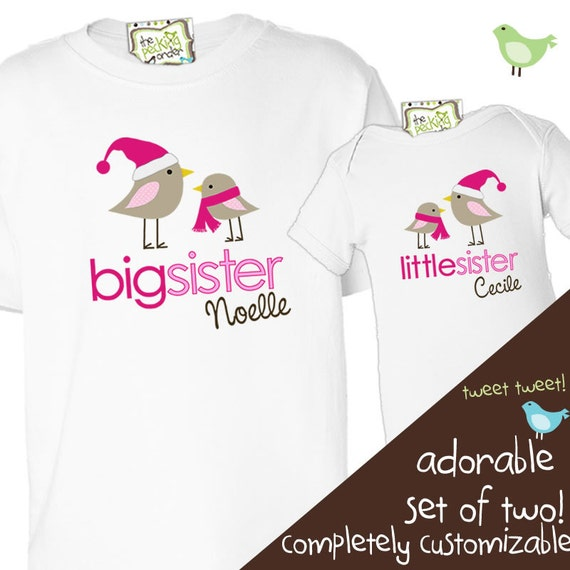 christmas big sister little sister winter holiday birdies matching sibling shirt set