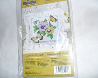 Counted Cross Stitch Embroidery ButterFly Flowers Bucilla Stitchery Kit New