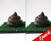 FREE SHIPPING - Set Of  2: Cute POO Candle with Portable Turf - chocolate scented