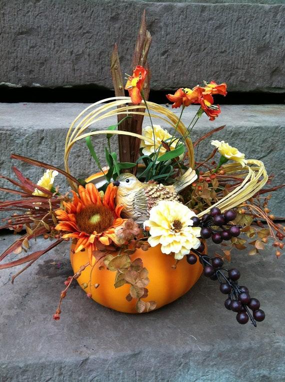 Fall pumpkin floral arrangement flower centerpiece