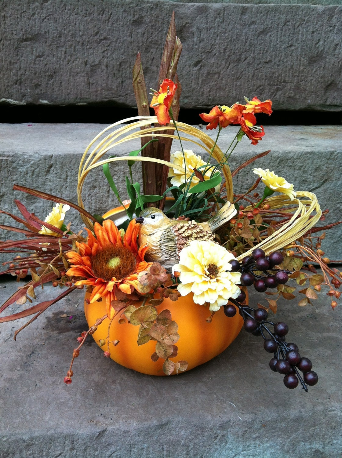 Fall pumpkin floral arrangement flower centerpiece