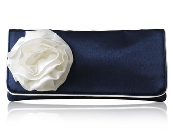 Navy and ivory satin bridal wedding GEORGIA clutch purse, bridesmaids gifts, mother of the bride