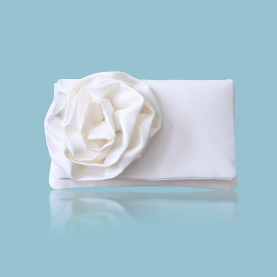 Ivory satin bridal wedding CHERISH flower purse clutch, bridesmaids, mother of the bride