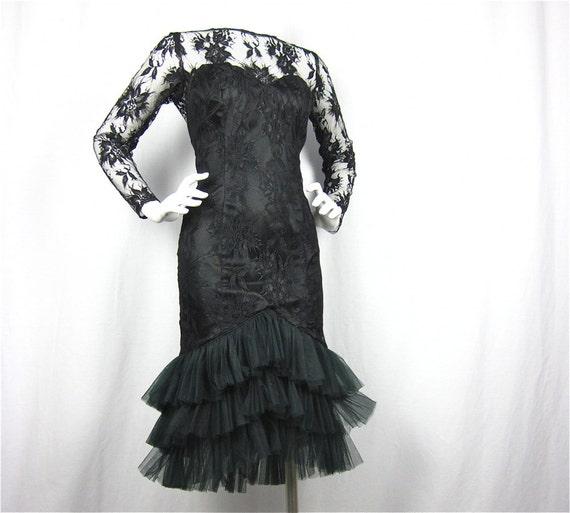 Vintage 80s Mermaid Little Black Lace Dress, Sz S