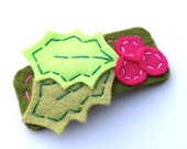 Holly Berry Hair Clip in Lime Green and Fuschia