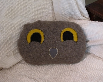 Taupe Owl Face Pillow Felted Wool