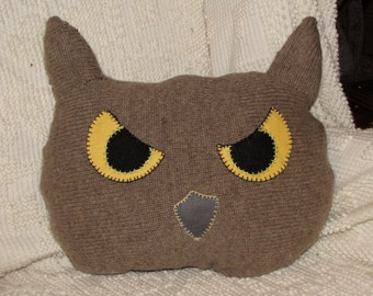 Brown Tufted Owl Face Pillow