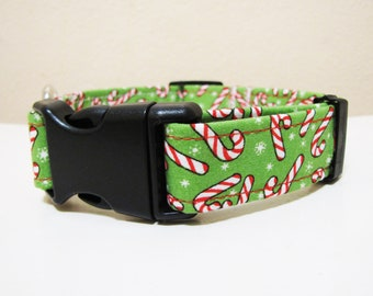 Merry Christmas Candy Canes Dog Collar - Size M