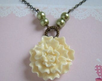 Cream Flower Green Pearl Antiqued Necklace, Floral Wedding Jewelry