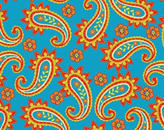 Sale Fabric Pop Paisley Fabric in Turquoise 1/2 Yard
