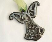 Angel Ornament in Palladium - Ceramic Stoneware Pottery Christmas Decoration - Sale Buy 2 Get 1 50% Off