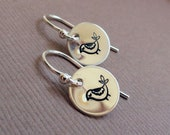 Hand stamped Bird earrings, sterling silver bird earrings, short dangle earrings, dainty silver earrings with birds