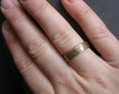 Recycled Hammered Brass Ring Wedding Band Made to Order