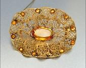 Antique Victorian Brooch Rhinestone Amber Glass Gold Filigree 1900s Vintage Jewelry