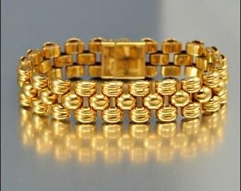 Vintage Gold Panther Link Bracelet, Tank Tread Bracelet, Swiss Bracelet, Retro Vintage Bracelet 1940s, Gold Bracelet, European Bracelet