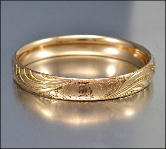 Art Deco Bracelet Bangle Gold Engraved Vintage 1930s Jewelry