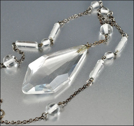 Reserved Art Deco Necklace Czech Glass Crystal Pendant Silver Chain Long 1930s Vintage Jewelry