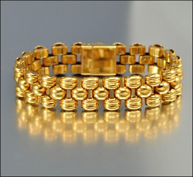 Vintage Gold Bracelet Panther Link Machine Age Swiss Gold Link