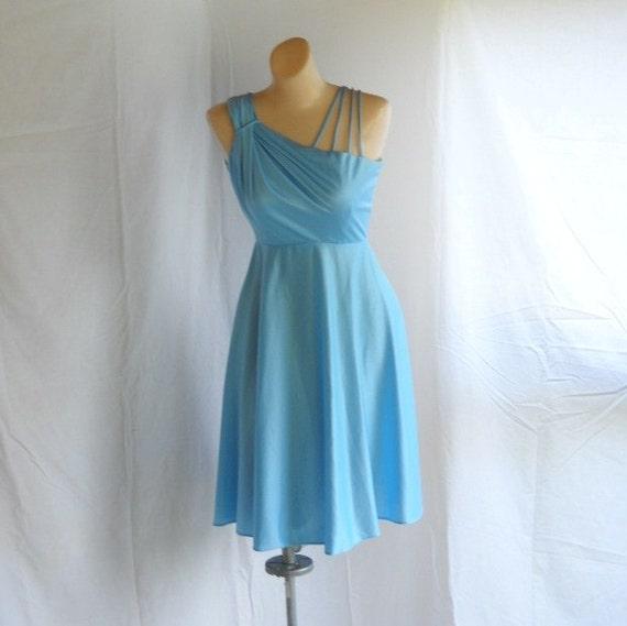 Vintage Mini Dress Blue Grecian Style Dress Retro Mini Dress Spaghetti Straps One Shoulder Goddess Dress