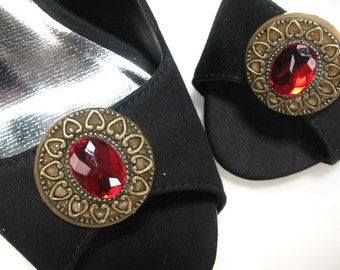 Big Red Shoe Clips Round Fancy Filigree Upcycled Accessories Jewelry for Shoes 1 Pair