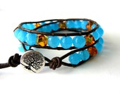 Baltic Amber // Aqua Glass Beads // Brown Leather - Double Leather Wrap Bracelet by The CamBrayah Collection