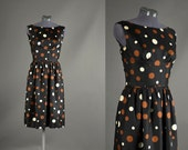 1950s Dress / polka dot dress / 50s Dress / black polka dot  silk designer party dress