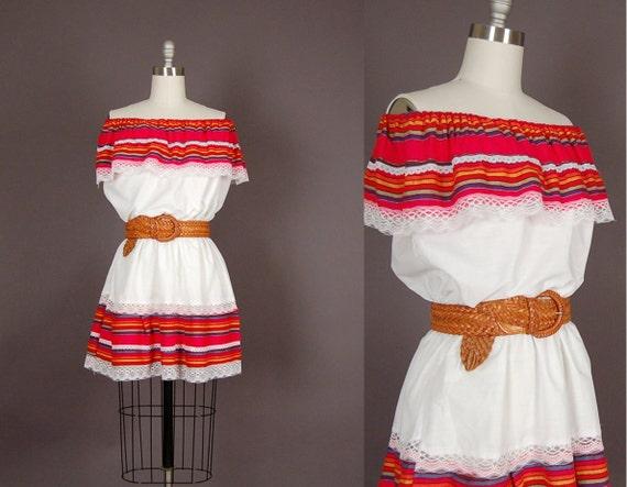 vintage 1970s dress 70s mini dress mexican lace cotton white sun dress