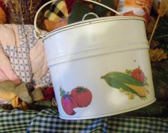 Vintage TIN PAIL with Lid and Veggie Decals, 1950's, So Shabby