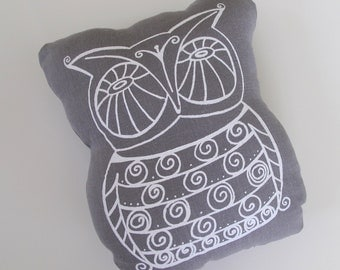Pillow - Cushion - Owl by Sweetnature Designs - Choose your fabric and ink color