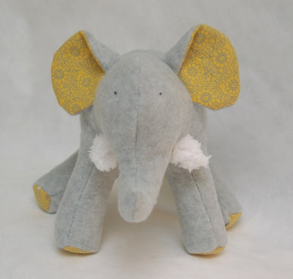 Kayl Grey - Plush Gray Fleece Elephant with soft yellow and grey flower swirls on her tummy and soft chenille tusks - ready to ship