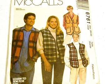 Vest Pattern McCalls 6761 Misses Mens (Size L 38-40)