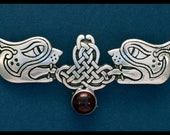 Celtic Lions Pin W/ Garnet Cabachon- Sterling Silver