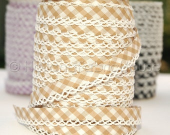 Bias Tape -  Sand Brown Gingham Cotton and Lace Double Fold