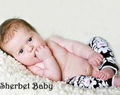 Clearance READY TO SHIP Black White and Pink Damask Legwarmers  Match up to Sassy Pants Ruffle Diaper Cover Bloomers