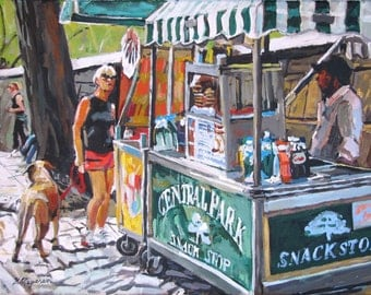 Pretzel and Hot Dog Cart. Central Park, 5th Avenue New York Art NYC Art Wall Decor, Cityscape Painting by Gwen Meyerson