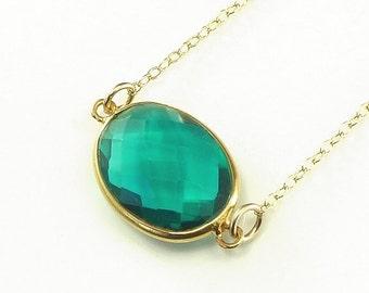 Green Apatite Quartz  Necklace 14K Gold Filled Solitaire Gemstone Handmade Minimalistic Fashion May Birthstone