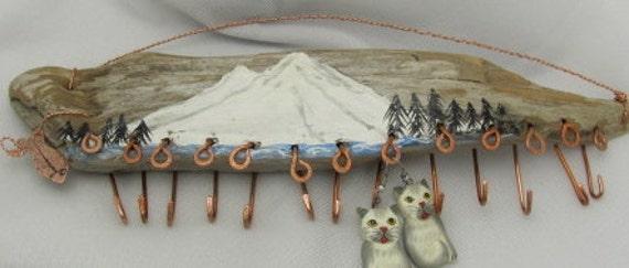Driftwood Hanging Jewelry Sculpture Art form Display, Mt Shasta,Copper Hook Display, Key Rack.