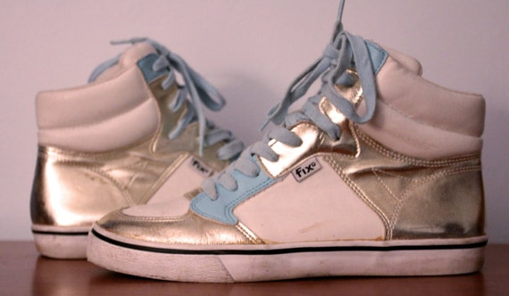 Gold, white, and baby blue high top sneakers size 8.5