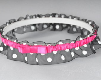 Wedding Garter in Hot Pink and Black Polka Dot with Tailored Bow