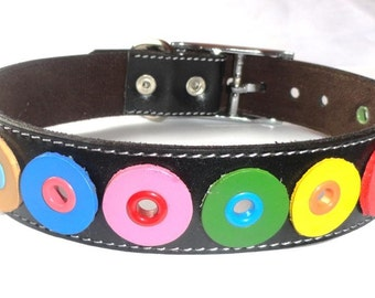 Rainbow Leather Dog Collar in Black and multicolor circles