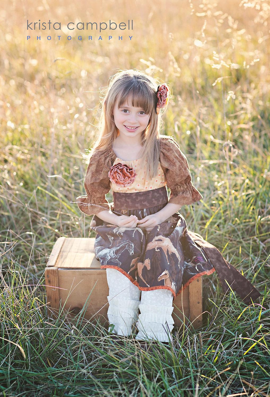Little Girls Dress Love Horses-8344