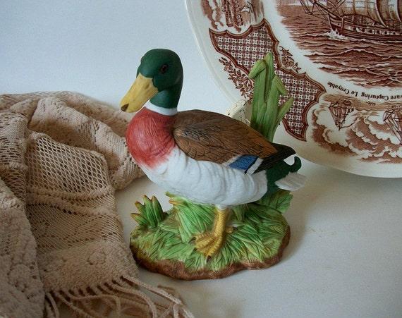 Vintage porcelain mallard duck vintage duck home decor duck for Duck decorations home