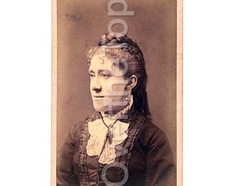 Antique Vintage Photograph Serious Victorian Lady Portrait 19th Century Carte de Visite