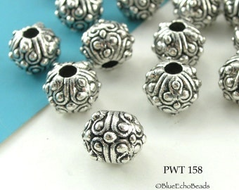 Detailed Pewter Beads Antique Silver 11mm (PWT 158) 6 pcs BlueEchoBeads