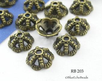 8mm Small Bead Cap Antiqued Brass Bronze Bead Cap (RB 203) 20 pcs