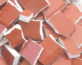 Burnt orange hand cut mosaic tiles from plates S21
