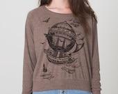 Vintage Steampunk Airship, Women's Raglan Pullover, Jersey Tri-blend Sweatshirt, Hot Air Balloon, Gift for Her