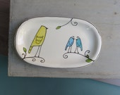 SALE // Small yellow bird plate / dish, spring garden gift for her, soap dish, earring tray, oval kitchen plate home decor