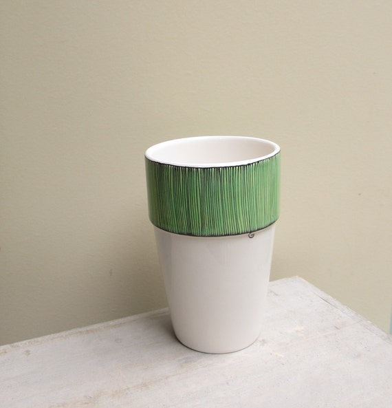 SALE // Tall mint green stripe ceramic vase, pastel spring green and white flower vase wooden spoon container
