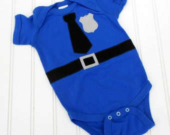 READY TO SHIP Great Baby Shower Gift Police Officer- Cop - Policeman Baby bodysuit sewn cotton applique